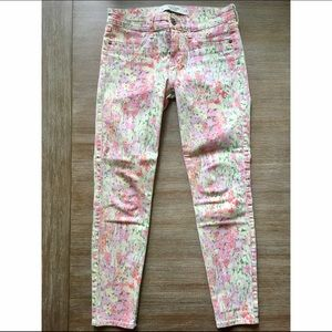 Pastel Floral Skinny Ankle Jeans Size 26/2