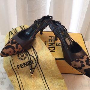 Fendi leopard print pony hair sling back pumps
