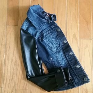 G by Guess Jackets & Blazers - G by GUESS DENIM JACKET VEGAN LEATHER SLEEVES