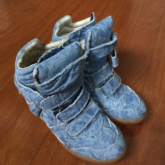 cb7a8fa6a2 Isabel Marant Shoes   Denim Wedge Sneakers   Poshmark