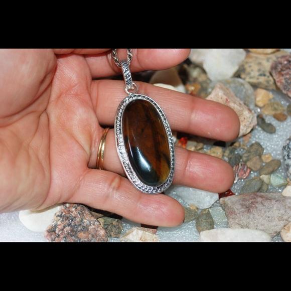"handmade & handcrafted gemstone jewelry Jewelry - Iron Tiger Eye Pendant 2"""