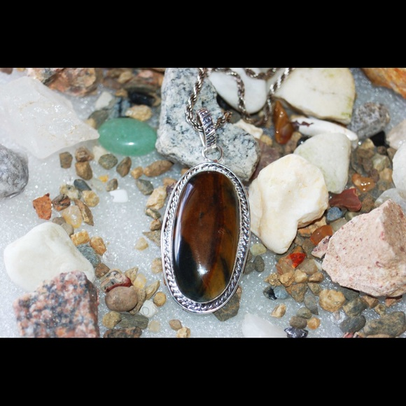 handmade & handcrafted gemstone jewelry Jewelry - Iron Tiger Eye Pendant 2""