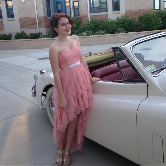 Macys Dresses Sparkly Light Pink Highlow Prom Dress Poshmark