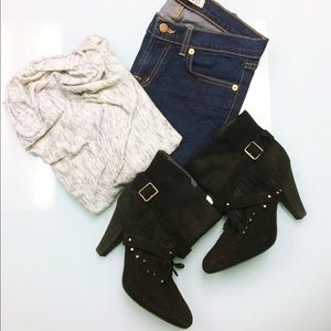 Host Pick Joie Suede Fringe Studded Ankle Boots