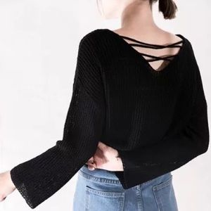 🍁FALL🍁Lace up sweater top (Black)