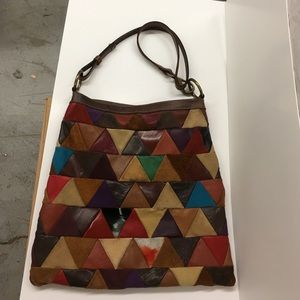 Leather suede patchwork hobo Crossbody lucky brand