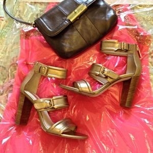 Louise et Cie Gold Strappy Heels