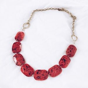 MACYS red beaded stone statement necklace