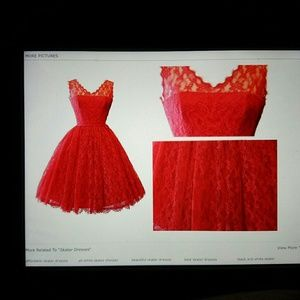 Dresses & Skirts - $$$REDUCED Red lace overlay with sweet heart dress