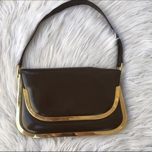 Gucci Handbags - GUCCI PATENT LEATHER AND METAL DETAIL PURSE BAG
