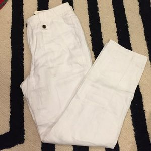 JCrew cropped white linen pant