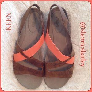 Keen Shoes - Mandarin Orange & Brown Lthr Keen Sandals Size 10