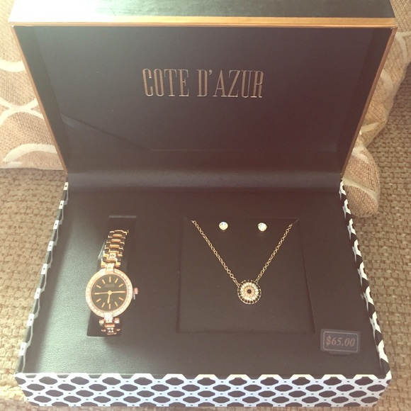 0d300bc9013fb9 Cote D'azur Jewelry   Brand New In Box Watch Necklace And Earring ...