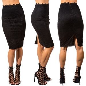Dresses & Skirts - Black Laced Pencil Skirt