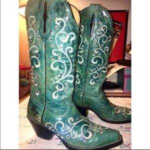 Shoes - Real leather rhinestoned boots