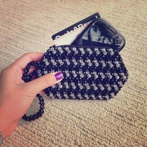 Handmade black and clear beaded purse