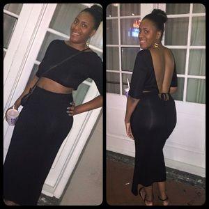 Dresses & Skirts - Black backless two piece set