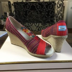 TOMS Shoes - Tom's Wedge open toe shoes.