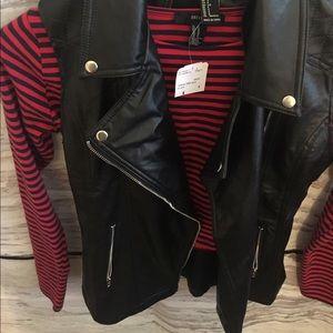 NWT black faux leather biker jacket vest