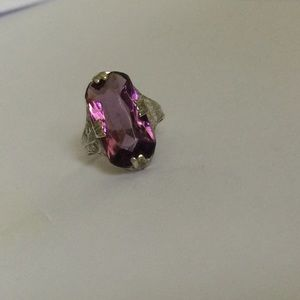 Vintage Jewelry - Antique Sterling Silver Amethyst Art Deco Ring