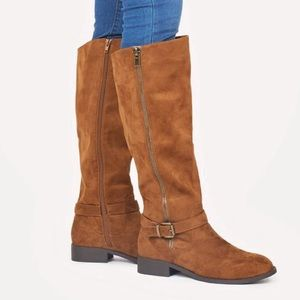 JustFab Shoes - NWT Cognac Faux Suede Boots