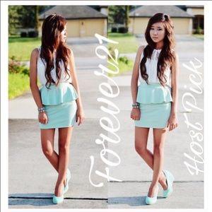 HP 10-25-16 Forever21 Peplum Mint Peplum Skirt