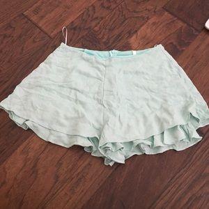 Mint green fabric shorts
