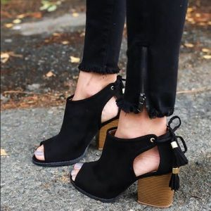 Black cut out suede tassel lace up bootie
