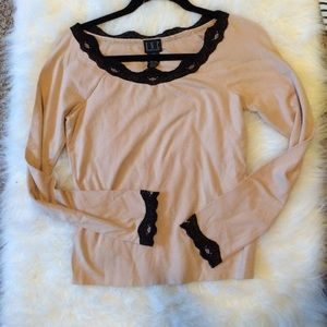 INC | Poppy Nude and Lace Top