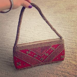 Vintage Hand beaded red and gold little handbag