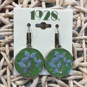 1928 green circle flower drop earrings