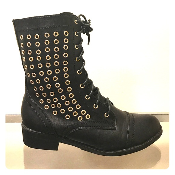 Black And Gold Combat Boots   Poshmark
