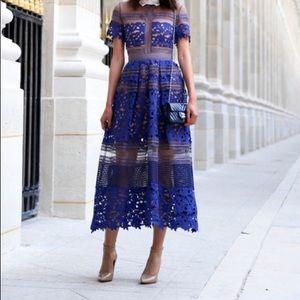 Self-portrait blue Liliana lace dress