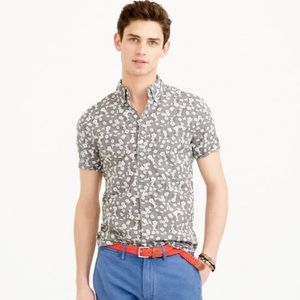 J. Crew Other - J. Crew - Gray Floral Short-Sleeve Washed Shirt