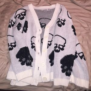 Skull button up sweater