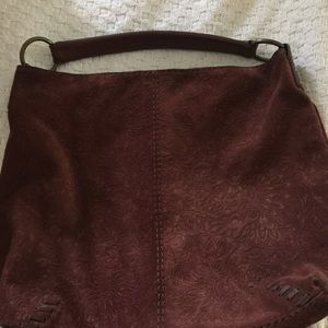 Lucky Brand over the shoulder suede bag