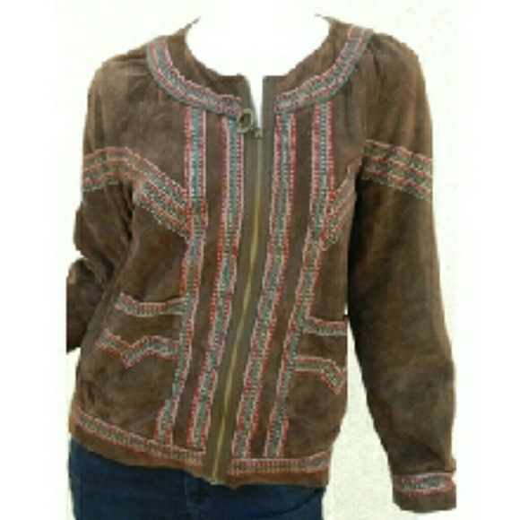 5b943950672 Cacharel Jackets & Coats | Jacket Suede Leather Embroidered Brown ...