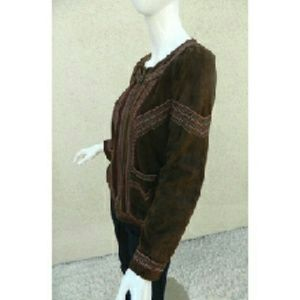 27e5e2cd995 Cacharel Jackets & Coats - CACHAREL Jacket Suede Leather Embroidered Brown