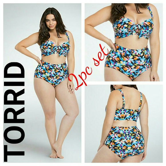 083e167de80fc 2pc set Torrid Geo Print High Waist Swimsuit 4x