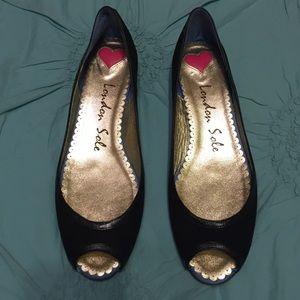 London Sole Shoes - 🇬🇧London Sole Peep Toe Wedge Black ⚫️ Suede NWOB