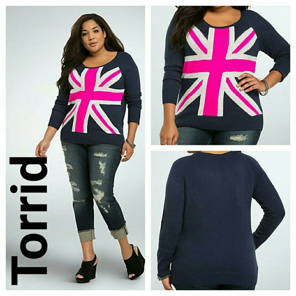 97% off torrid Sweaters - Torrid Union Jack Sweater knit pink 0x ...
