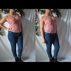 Vintage 90s Pink Lace Top