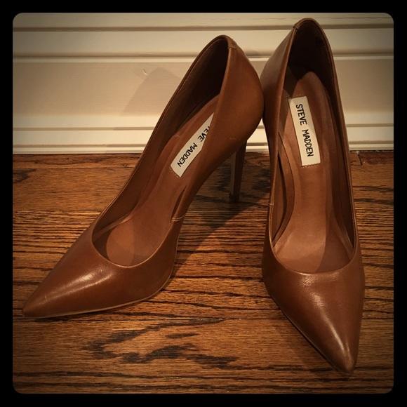 Steve Madden Shoes STEVE MADDEN PROTO Brown Leather Heels sz 7.5