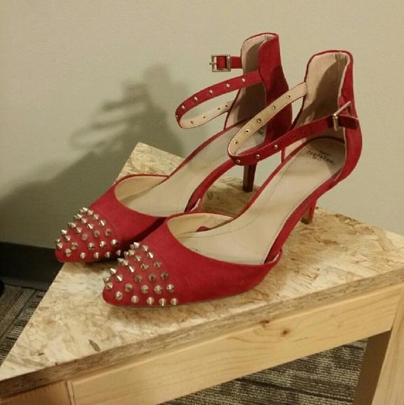 79124b8ffb Zara Shoes | Clearance Sexy Red Studded Kitten Heels | Poshmark