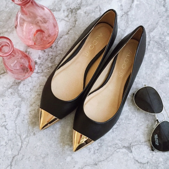e21ca20a6 Aldo Shoes | Black Leather Gold Cap Pointy Toe Flat 75 | Poshmark