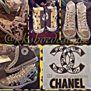 Custom converse black gold and white!