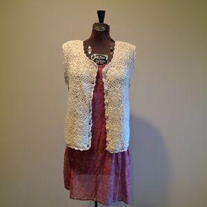 Vintage floral crochet lace vest