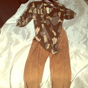 Suede dress pants