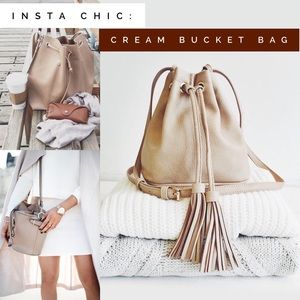 SALE! Cream bucket bag vegan leather tassel tan