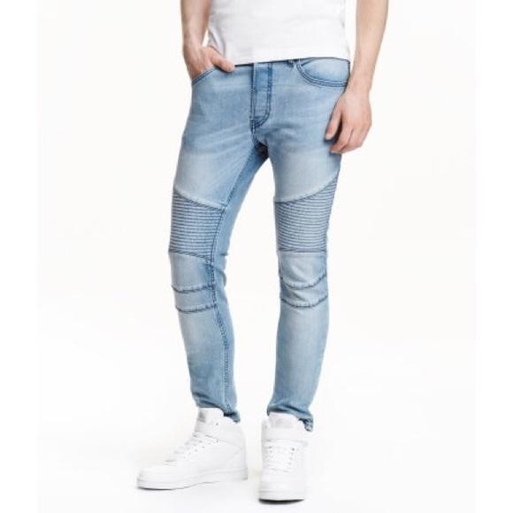 H M Jeans Hm Mens Light Blue Denim Skinny Biker Poshmark